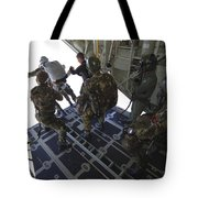 Paratroopers Jump From A C-130 Hercules Tote Bag by Andrew Chittock