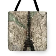 Paris Vintage Map And Eiffel Tower Tote Bag by Georgia Fowler