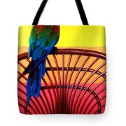 Parrot Sitting On Chair Tote Bag by Garry Gay
