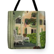 Patriotic Country Porch Tote Bag by Charlotte Blanchard