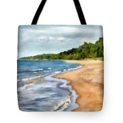 Peaceful Beach At Pier Cove Ll Tote Bag by Michelle Calkins