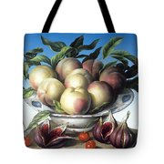 Peaches In Delft Bowl With Purple Figs Tote Bag by Amelia Kleiser