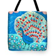 Peacock And Lily Pond Tote Bag by Sushila Burgess