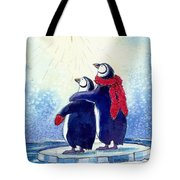 Penquins An Christmas Star Tote Bag by Peggy Wilson