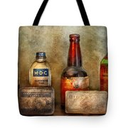 Pharmacist - On A Pharmacists Counter Tote Bag by Mike Savad
