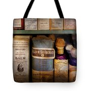 Pharmacy - Oils And Balms Tote Bag by Mike Savad