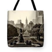 Philadelphia Benjamin Franklin Parkway In Sepia Tote Bag by Bill Cannon