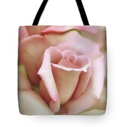 Pink and Ivory Rose Portrait Tote Bag by Jennie Marie Schell