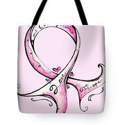 PInk Breast Cancer Ribbon Tote Bag by Megan Duncanson