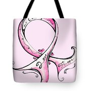 Pink Breast Cancer Ribbon Tote Bag by Megan Duncanson