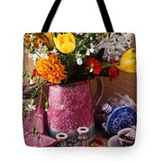 Pitcher Of Flowers Still Life Tote Bag by Garry Gay