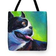 Playful Boston Terrier Tote Bag by Svetlana Novikova