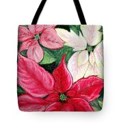 Poinsettia Pastel Tote Bag by Nancy Mueller