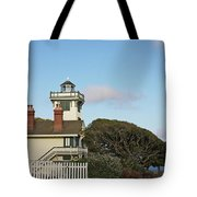 Point Fermin Light - an elegant Victorian Style Lighthouse in CA Tote Bag by Christine Till