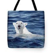 Polar Bear Swimming Baffin Island Canada Tote Bag by Flip Nicklin