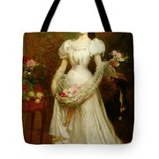 Portrait Of A Woman And Her Greyhound Tote Bag by English School