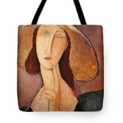 Portrait Of Jeanne Hebuterne In A Large Hat Tote Bag by Amedeo Modigliani