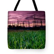 Power Lines Sunset Tote Bag by Cale Best