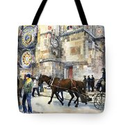 Prague Old Town Square Astronomical Clock Or Prague Orloj  Tote Bag by Yuriy  Shevchuk