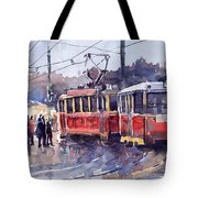Prague Old Tram 01 Tote Bag by Yuriy  Shevchuk