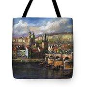 Prague Panorama Charles Bridge Prague Castle Tote Bag by Yuriy  Shevchuk