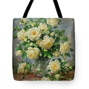 Princess Diana Roses In A Cut Glass Vase Tote Bag by Albert Williams