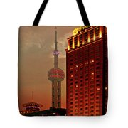 Pudong Shanghai - First City Of The 21st Century Tote Bag by Christine Till