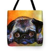 Pug Dog Portrait Painting Tote Bag by Svetlana Novikova