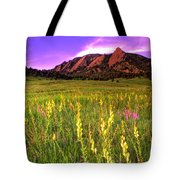 Purple Skies And Wildflowers Tote Bag by Scott Mahon