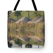Pyrimids By The Lakeside Cache Tote Bag by Rob Hans