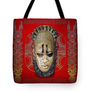 Queen Mother Idia - Ivory Hip Pendant Mask - Nigeria - Edo Peoples - Court Of Benin On Red Leather Tote Bag by Serge Averbukh