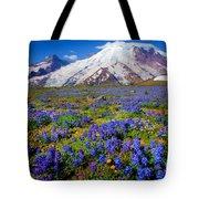 Rainier Lupines Tote Bag by Inge Johnsson