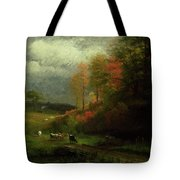 Rainy Day In Autumn Tote Bag by Albert Bierstadt