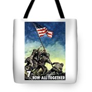 Raising The Flag On Iwo Jima Tote Bag by War Is Hell Store