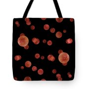 Red Abstract Dots Tote Bag by Frank Tschakert