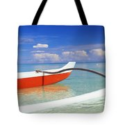 Red And White Canoe Tote Bag by Dana Edmunds - Printscapes