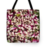 Red And White Radishes Tote Bag by John Trax