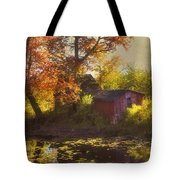 Red Barn In Autumn Tote Bag by Joann Vitali
