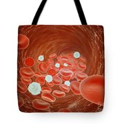 Red Blood Cell Flow Inside The Artery Tote Bag by Stocktrek Images