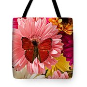 Red Butterfly On Bunch Of Flowers Tote Bag by Garry Gay