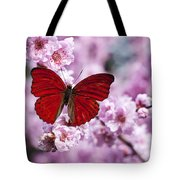 Red butterfly on plum  blossom branch Tote Bag by Garry Gay