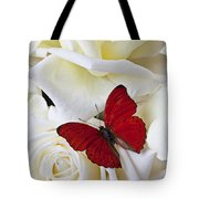 Red butterfly on white roses Tote Bag by Garry Gay