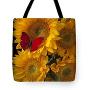 Red Butterfly With Four Sunflowers Tote Bag by Garry Gay