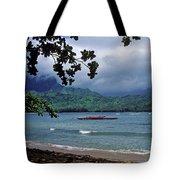 Red Canoe on Hanalei Bay Tote Bag by Kathy Yates
