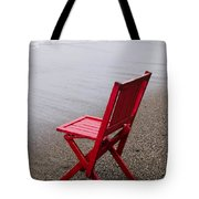 Red chair on the beach Tote Bag by Garry Gay