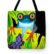 Red Eyed Tree Frog and Purple Butterfly Tote Bag by Nick Gustafson