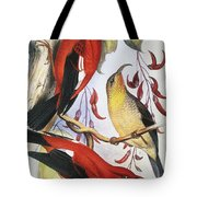Red Hawaiian Honeycreeper Tote Bag by Hawaiian Legacy Archive - Printscapes
