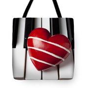 Red Heart With Stripes Tote Bag by Garry Gay