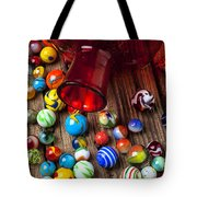 Red Jar With Marbles Tote Bag by Garry Gay