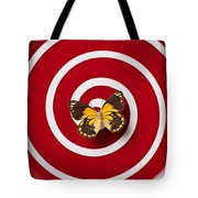 Red Plate And Yellow Black Butterfly Tote Bag by Garry Gay